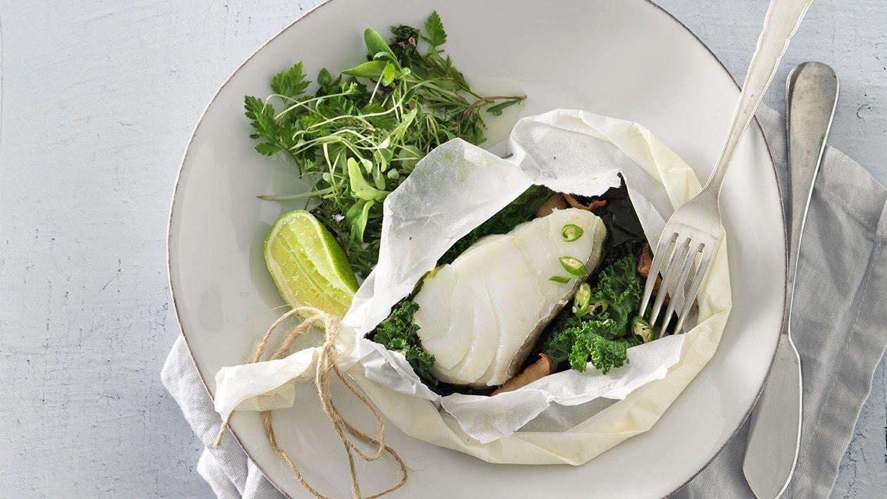 Kabeljau mit Wakame-Algen und Grünkohl
