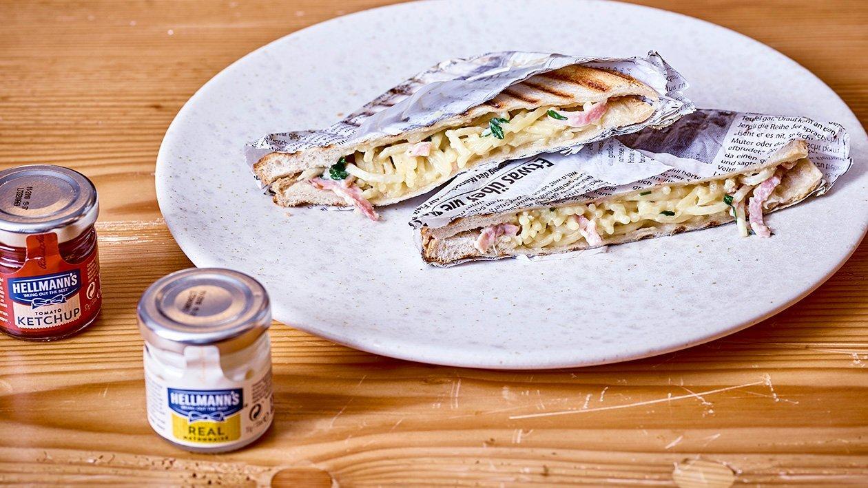 Spaghetti Carbonara Sandwich
