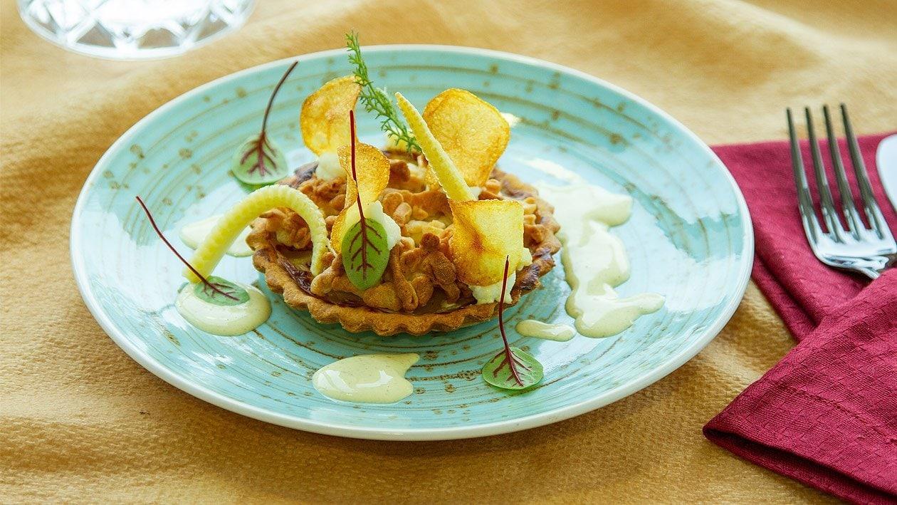 Kartoffeltarte mit Kamillen - Kardamom Hollandaise