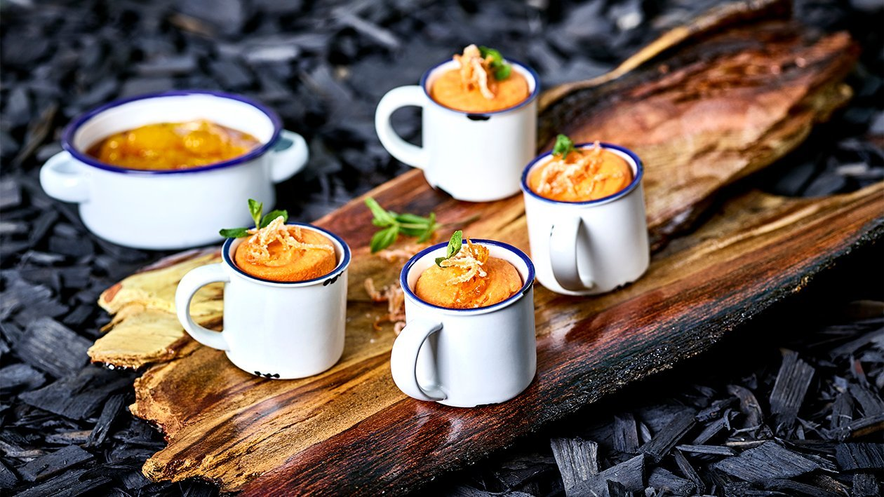 Karotten Kardamom Soufflé mit Mandarinen Ragout
