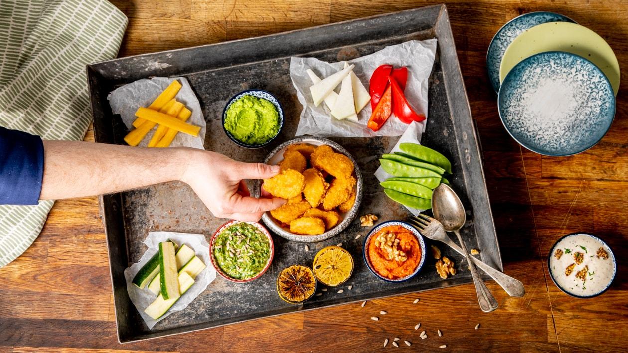 NoChicken Nuggets mit veganen Dips
