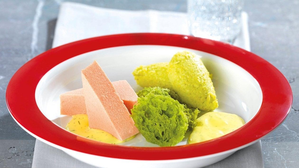 Lachsfilet, Erbsen - Polentanockerl, Erbsensponge, Honig - Dill - Senf - Hollandaise