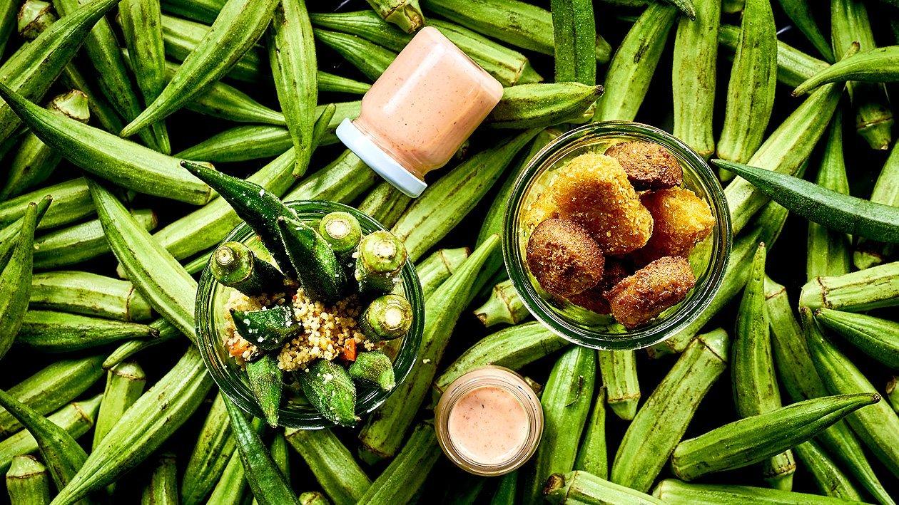 Gebratene Okraschoten mit Cous Cous und Ofen Paprika Veganaise