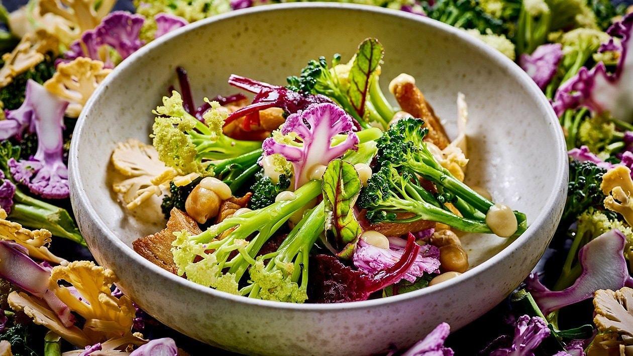 Lauwarmer Karfiol - Brokkoli Salat mit NoChicken Chunks und Kichererbsencreme